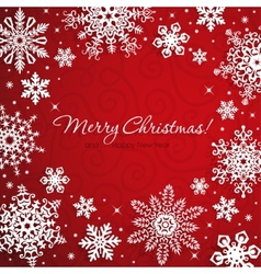White snowflakes on red background vector image