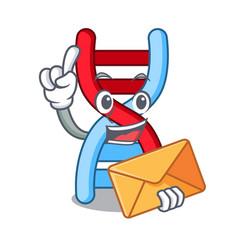 With envelope dna molecule character cartoon vector