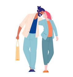 young woman and man walking and hugging vector image