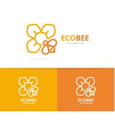 flower and bee logo combination unique vector image vector image