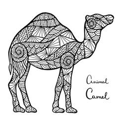 Stylized camel zentangle isolated on white vector