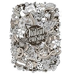 Cartoon hand-drawn doodles Italian food vector image vector image
