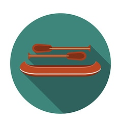 Flat design modern of canoe icon with long shadow vector image