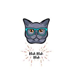 Grey cat in smart glasses vector