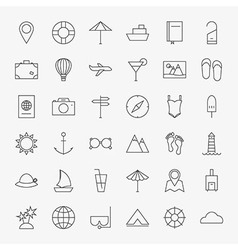 Line Travel Icons Big Set vector image