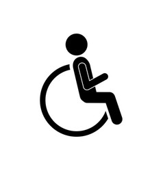 person sitting in wheelchair icon vector image