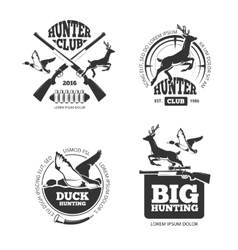 retro vintage hunting labels emblems vector image vector image