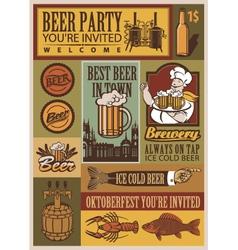 beer retro set vector image vector image