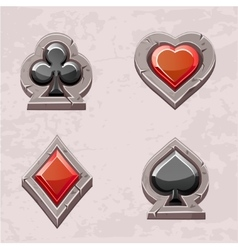 card suit poker icons stone texture vector image
