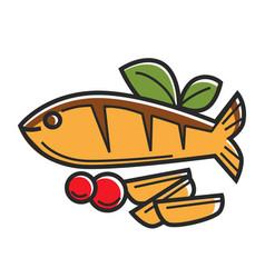 cyprus greek traditional cuisine fish vector image vector image
