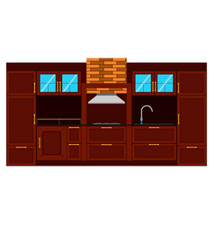 kitchen flat design interior room furniture table vector image
