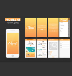 mobile app travel agency material design ui ux vector image