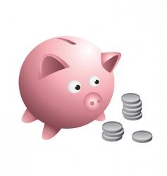 Piggy bank coins vector