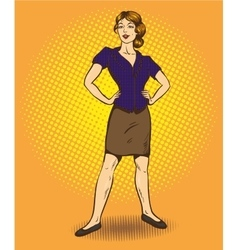 Woman standing in confident position retro comic vector image vector image