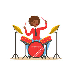 young black woman playing on drums guy behind the vector image vector image