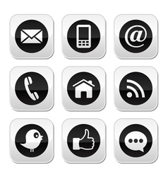 Contact web blog and social media buttons vector image vector image