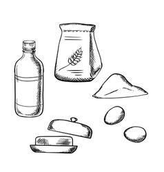 Flour fresh eggs milk and butter vector image