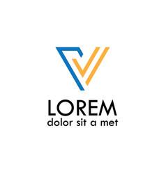 line letter v logo vector image vector image
