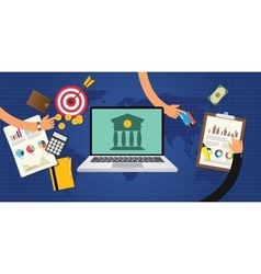online banking concept with goals and data graph vector image