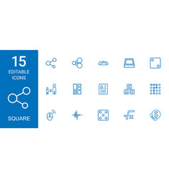 15 square icons vector