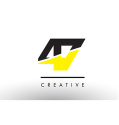 47 black and yellow number logo design vector