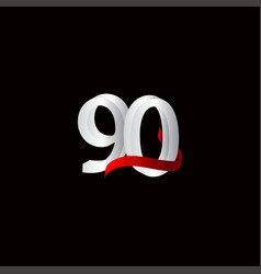 90 years anniversary celebration number black vector