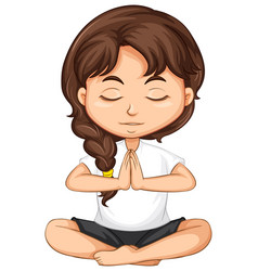a girl meditating on white background vector image