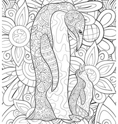 adult coloring bookpage a family of penguins on vector image