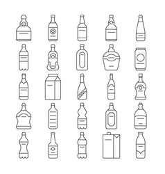 Alcohol drink bottles and beverage line vector