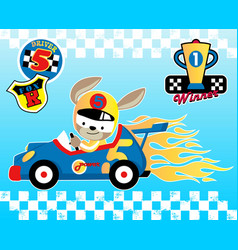 Animal racer with logo and trophy cartoon vector
