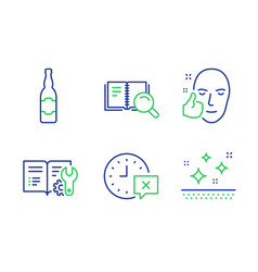 Beer bottle search book and healthy face icons vector