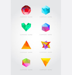 Big set trendy crystal triangulated gem logo vector
