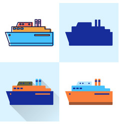 big ship icon set in flat and line styles vector image