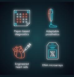 Bioengineering neon light icons set medical vector