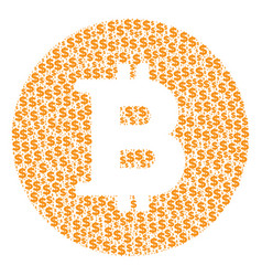 bitcoin coin composition of dollar and dots vector image