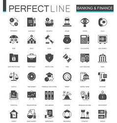 black classic banking and finance web icons set vector image