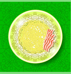 Boiled floury product spaghetti on green vector