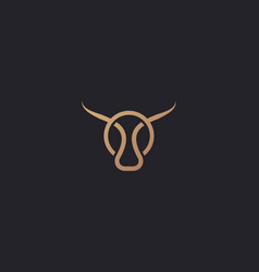Bull taurus logo linear cow steak creative vector