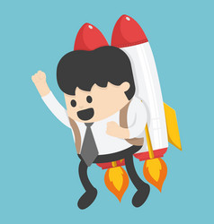 businessman flying on a rocket on blue sky vector image