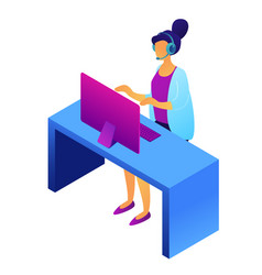 call center female operator isometric 3d vector image