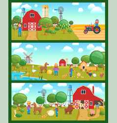 cartoon banners set vector image