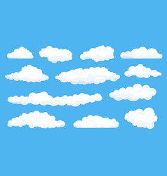 cartoon fluffy white clouds on summer blue sky vector image