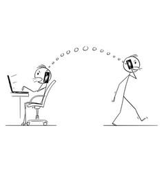 cartoon two men or businessmen wireless vector image