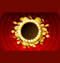 Casino lamp frame with gold realistic 3d coins vector