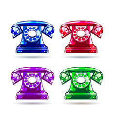 Colorful glossy retro telephone vector