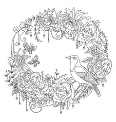Coloring flowers and birds 1 vector