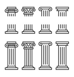 columns line icon set ancient architecture pillars vector image