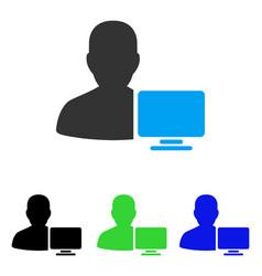 Computer administrator flat icon vector