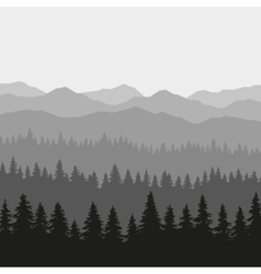 Coniferous Forest and Mountains Background vector image