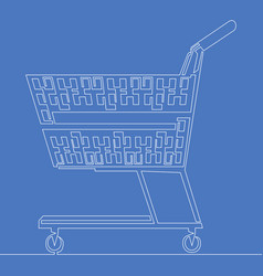 continuous one line shopping cart concept vector image